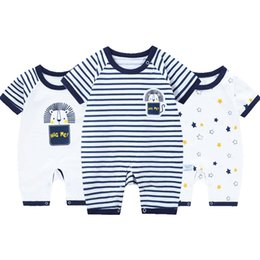 baby jumpsuit wholesale NZ - 3pcs lot Rompers Summer Short Sleeve Boy Newborn Clothes Girl Romper Baby Jumpsuit Thin Overalls Jumpsuits J190524