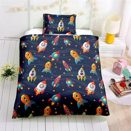 $enCountryForm.capitalKeyWord Australia - Children Space Rocket Bedding Set Au Eu Us Country Size Single Double Duvet Cover Set Pillowcase Soft Bedclothes Bedding