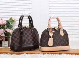 BB Bags online shopping - 2Gnuine femalLV bag ALMA BB classic old flower shell bag real leather shoulder slung handbag famous brands handbag top quality Crossbody bag