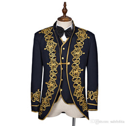 navy gold tie Australia - High Quality Black Navy Blue Long Sleeves European Court Suits Gold Appliques Stage Performance Costumes For Men(Include Jacket+Vest+Tie)