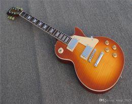 $enCountryForm.capitalKeyWord Australia - Free shipping Custom shop Standard Honey Burst Electric Guitar Flame Maple Top Cream Binding Body Chrome Hardware One piece neck Mahogany Bo