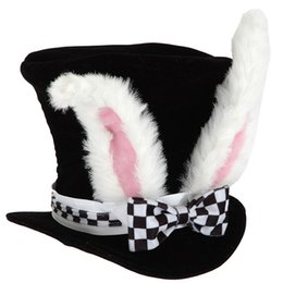 Checkered Hats Australia - Kids Gift Rabbit Topper Plush Easter Bowknot Costume With Checkered Velvet Funny Performance Cute Bunny Ears Party Hat