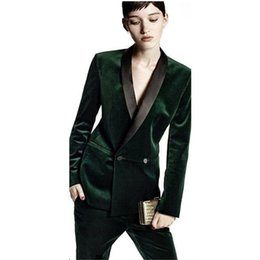 CUSTOM MADE Pants green Dark business women suits office formal work 2  piece set women tuxedo ladies pants suit. e175b3558