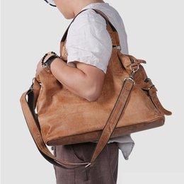 Wholesale Genuine Leather Travel Tote Bag Weekender Duffel Overnight Bag Briefcase Laptop Business Vintage Slim Messenger Bags for Men Women Brown