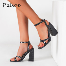 super blocks Australia - Pzilae 2020 women high heels sandals block heels shoes ladies dress party sandals open toe buckle strap women size 42
