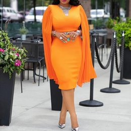 elegant sexy dinner dresses 2019 - Orange Women Bodycon Dresses Elegant Party Dinner Midi Dress Robe African Pleated Shawl Sleeve Straight Dresses 2019 Ves