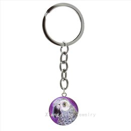 Picture Rings Australia - TAFREE Cool Nature wildlife animal silver jewelry keychain Clever Bird Parrot art picture pendant ring bijoux key chain men gift NS533