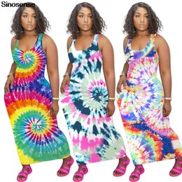 Wholesale stretchy bodycon dress sexy for sale – plus size Women s Fashion Summer Maxi Dress Stretchy Slim Sexy Bodycon Long Club Party Dress Tie Dye Sleeveless Tank Vestidos