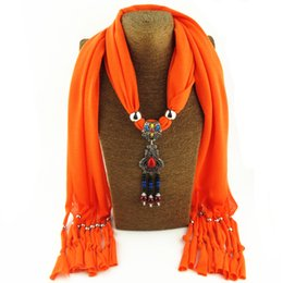 Cotton Scarves Pendants Australia - New multi-color three-dimensional fashion fringe design scarf jewelry necklace pendant women's scarf free shipping