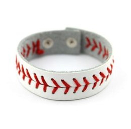 Discount stitch bracelet - New arrival hot selling 2019 PU Leather Softball Bracelet Baseball Stitching Leather Bracelet - Adjustable - Women or Me