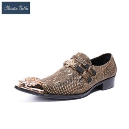 Shoes Christia Bella Luxury Brand Pointed Toe Gold Dress Formal Shoes Metallic Glitter Loafers Man Snake Skin Leather Oxfords Night
