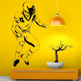 media player live NZ - Football Player Wall Decals Home Decor American Sports Kids Boys Bedroom Wall Sticker Living Room Decoration