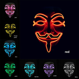 Full Face mask scary online shopping - V for Vendetta EL Mask Halloween PVC V for Vendetta Mascara Glowing Masks Anonymous Guy Cosplay Scary Masks
