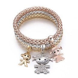 $enCountryForm.capitalKeyWord Australia - 3Pcs Unisex Small Figure Pendant Rhinestone Hollow Corn Chain Bracelets Jewelry