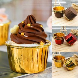 Cupcake Muffins Cake Australia - Brown Gold Cupcake Liners Paper Cup cups cases muffin cake mold birthday party wedding decoration cupcake supplies 6 Color WX9-1379