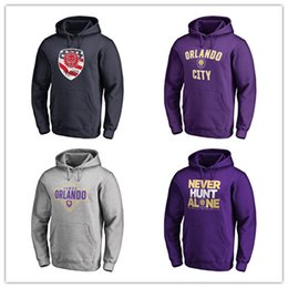 Wholesale 18 MLS Orlando City Home Soccer Hoodies Purple mens Jackets Fashion Outerwear Black Fans Tops hoody printed logos