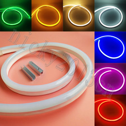 bright neon signs 2019 - Super Bright 12V 2835 LED Neon Tube Flex Strip Rope Light Ribbon 8mm * 16mm 120LEDs m IP67 Waterproof for Club Advertisi