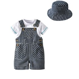 Kids European Hat Australia - Toddler kids gentleman outfits 2019 summer New baby boys round collar short sleeve romper+stripe suspender shorts+hat 3pcs sets F3984
