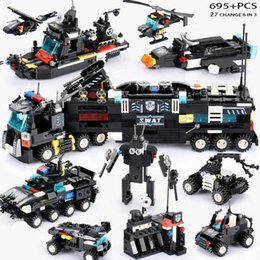 $enCountryForm.capitalKeyWord Australia - 695pcs Newest Swat Blocks City Police Truck Building Blocks Sets Ship Helicopter Vehicle Creator Diy Bricks Toys For Children J190720