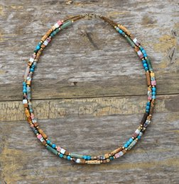 unique seeds Australia - Women Choker Semi Precious Stone Seed Beads Choker Necklace Unique Womens Simple Collar Necklace Dropshipping Bohemia Jewelry