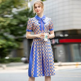 geometric printed dress Australia - Geometric Printing Dress Short Sleeve Baby Neck Women's Vintage Pleated Dresses Lady's Street Fashion Summer Wear