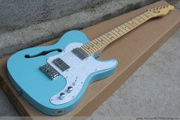 Hollow Fingers Australia - Free Shipping Factory custom semi hollow F hole light blue electric guitar, 2 silver pickup, white pearl guard plate, maple finger board,