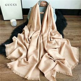 Scarfs Cotton Australia - 2019 beautiful women silk and cotton scarf monogram design scarf shawl size 180*70cm scarf no box