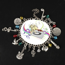 music note bangle NZ - 10pcs Lot Exquisite Design Ha milton Broadway Bracelets Women Rock Band Music Note Sing Guitar Microphon Bangles Adujstable Bracelet Jewelry