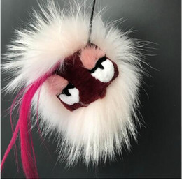 $enCountryForm.capitalKeyWord NZ - Real Raccoon Fur Monster Bag Bug Light Pink Fur Charm Keychain Real Fur Pompom Keyring pendan Accessories