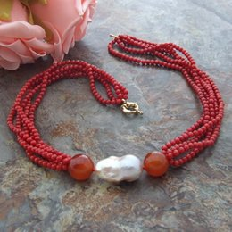 Discount red carnelian jewelry Hand knotted 5strands red coral carnelian reborn Keshi pearl necklace 50cm fashion jewelry