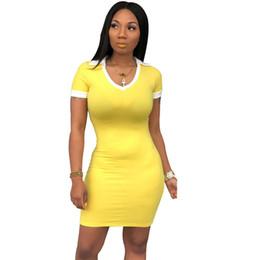 $enCountryForm.capitalKeyWord UK - Plus Size Casual Bodycon Dress Women Short Sleeve Summer T-shirt Dress Ladies Beach Streetwear Basic Elastic Sheath Mini Dress