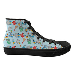 d562608e334e Customize shoes online shopping - Customized Cartoon Funny D Cleaner Design  Ladies Shoes Flats High Top