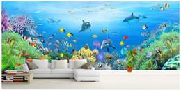 Marines Housing Australia - WDBH 3d wallpaper custom photo Large size marine world dolphin coral fish Children's room home decor 3d wall murals wallpaper for walls 3 d