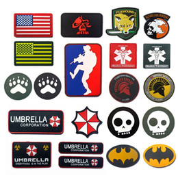 navy umbrellas Australia - PVC Flag Patch MLD Sniper Foxhound Umbrella Peace World Airforce Navy Seal Spartan Military Patch Tactical Badge Airsoft Patches