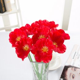 pink poppies flowers 2019 - 5Pcs Simulation Pu Poppy Household Photography Wedding Decorations Fake Flower Feel Bouquet Factory Wholesale Simulation