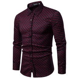 d10696ff61 Marca 2019 Moda Hombre Camisa de manga larga Tops rayas rojas para hombre  camisas de vestir Slim Men Shirt S-xxl