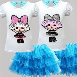 PoPular kids clothing brands online shopping - INS Surprise Girl Kids Skirt Tee Suit Summer Girls Sequined short sleeved bow T shirt TUTU Short Skirt Set Baby Clothes Popular A32006