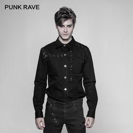 21c00691 PUNK RAVE Men Steampunk Long-sleeved Shirt Cotton Men Shirts Gothic Fashion  Casual Black Party Shirt