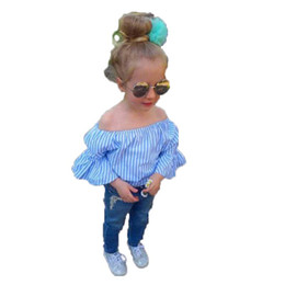bf3355051af Kids Pants Suit Girls Off Shoulder Striped Shirt Jeans Suit Female Pullover  Blue Cotton Long Sleeve Trousers 4