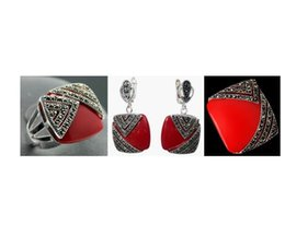 $enCountryForm.capitalKeyWord Australia - Jewelryr Jade Set Noble Red Carved Lacquer Marcasite 925 Sterling Silver Square Ring(#7-10) Earrings & Pandent jewelry sets Free Shipping