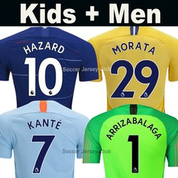18 19 HAZARD MORATA KANTE soccer jersey WILLIAN GIROUD PEDRO JORGINHO men  kids 2018 2019 goalkeeper ARRIZABALAGA Thailand football kit shirt 157bf1ddb