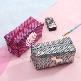 Bags Fish Scale Australia - Mermaid laser Cosmetic bag Fish scale wallet cartoon cute children kids handbag student Pencil storage case party favor kids gift FFA2088