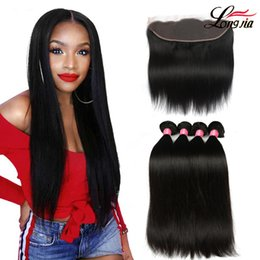 Brazilian straight lace frontal online shopping - Brazilian Virgin Hair Straight with lace Frontal Ear to Ear Lace Frontal Closure straight Virgin Hair x4 Frontal With Bundles Deals