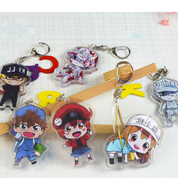 Characters Figures Australia - Cartoon Anime Cells At Work Keyring Character Acrylic Keychain Killer T Cell Red White Blood Cell Toy Figure Souvenir Series