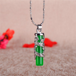 Couples Jade Pendant Australia - Malayu Dragon Pillar Pendant Simple Personality Couple Gold Inlaid Jade 925 Silver Necklace