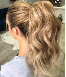 $enCountryForm.capitalKeyWord Australia - Honey Blonde Body Wave human hair ponytail extension African clip in drawstring blond Pony tail hairpiece100g-140g virgin Prom Hair ponytail