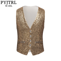$enCountryForm.capitalKeyWord Australia - Pyjtrl Men Paillette Waistcoat Luxurious Gold Silver Red Blue Full Sequins Wedding Groom Vest Gilet Homme Dj Bar Singers Costume J190430