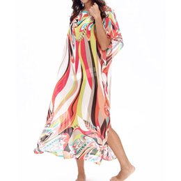 8ad7d3f22eb Rainbow maxi dResses online shopping - Women Summer Crew Neck Kaftans  Swimsuit Cover Up Rainbow Stripes