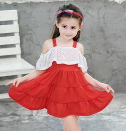 $enCountryForm.capitalKeyWord NZ - Fashion Girls Bouquet Petal Dress Wedding Princess Pageant lace dress with halter top children's princess dress