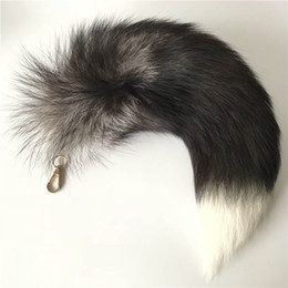 leather tail UK - 40cm Real Silver Fox Tail Cosplay Toy Keychain Leather Tassel Keychain bag Charm Car Keyring Pendant